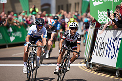 Coryn Rivera (USA) wins ahead of Marianne Vos (NED) at OVO Energy Women's Tour 2018 - Stage 2, a 145 km road race from Rushden to Daventry, United Kingdom on June 14, 2018. Photo by Sean Robinson/velofocus.com