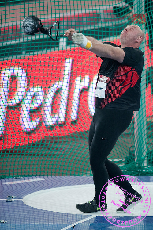 Szymon Ziolkowski of Poland competes at weight throw during athletics meeting Pedro's Cup 2014 2014 at Luczniczka Hall in Bydgoszcz, Poland.<br /> <br /> Poland, Bydgoszcz, January 31, 2014.<br /> <br /> Picture also available in RAW (NEF) or TIFF format on special request.<br /> <br /> For editorial use only. Any commercial or promotional use requires permission.<br /> <br /> Mandatory credit:<br /> Photo by &copy; Adam Nurkiewicz / Mediasport