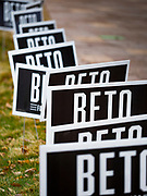 01 NOVEMBER 2019 - DES MOINES, IOWA: Yard signs for Beto O'Rourke in downtown Des Moines Friday. O'Rourke withdrew from the presidential race Friday. Iowa holds the first presidential selection event of the 2020 election cycle. The Iowa Caucuses are Feb. 3, 2020.            PHOTO BY JACK KURTZ