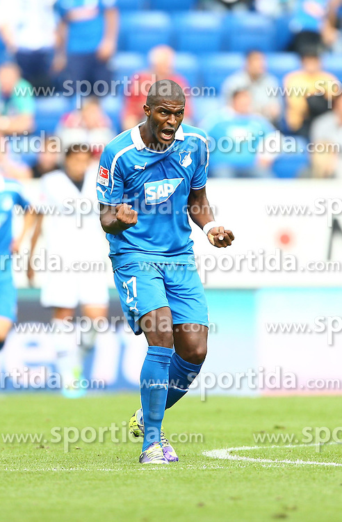 28.09.2013, Rhein Neckar Arena, Sinsheim, GER, 1. FBL, TSG 1899 Hoffenheim vs Schalke 04, 7. Runde, im Bild Anthony Modeste (TSG 1899 Hoffenheim) bejubelt seinen Treffer zum 1:2, Torjubel/ Jubel, Emotionen // during the German Bundesliga 7th round match between TSG 1899 Hoffenheim and Schalke 04 at the Rhein Neckar Arena, Sinsheim, Germany on 2013/09/28. EXPA Pictures &copy; 2013, PhotoCredit: EXPA/ Eibner/ Alexander Neis<br /> <br /> ***** ATTENTION - OUT OF GER *****