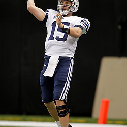 Sep 12, 2009; New Orleans, LA, USA; BYU Cougars quarterback Max Hall (15) in pregame against Tulane Green Wave at the Louisiana Superdome.  Mandatory Credit: Derick Hingle-US PRESSWIRE