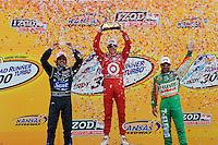 Scott Dixon, Dario Franchitti, Tony Kanaan, Road Runner Turbo Indy 300, Kansas Speedway, Kansas City, KS USA  5/1/2010