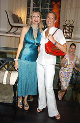 Left to right, ALLEGRA HICKS and INDIA HICKS at a party to launch the Acqualuna jewellery exhibition at Allegra Hicks, 28 Cadogan Place, London on 22nd June 2005.<br /><br />NON EXCLUSIVE - WORLD RIGHTS