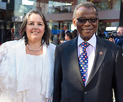 Image ©Licensed to i-Images Picture Agency. 10/06/2014. London, United Kingdom. HRH Prince Harry attends the 50th Anniversary of Zulu premiere. . Picture by Anthony Upton / i-Images<br /> Leicester Square, London, 10 June 2014: Pr. Buthelezi meets Suzannah Endfield-Olivier, daughter of the Director Cy Enfield of the original film at a gala screening to celebrate the 50th Anniversary of Zulu where guests were joined by Prince Harry to watch a digitally remastered version of the iconic film. The evening was arranged to raise money for two charities supported by Prince Harry, Walking With The Wounded and Sentebale. <br /> For further info please contact<br /> Emily Conrad-Pickle Captive Minds<br /> Mobile: +44 (0)7799 414 790<br /> emily.conrad-pickles@captiveminds.com