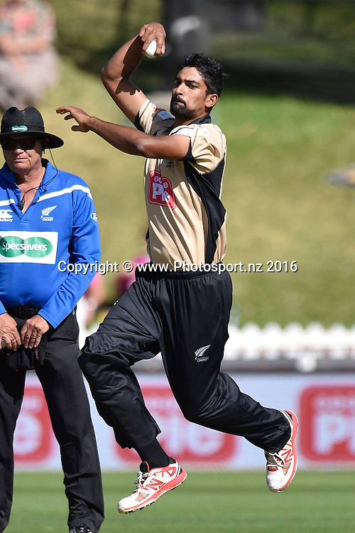 Ish Sodi of the North Island bowls during the North Island vs South Island cricket match at the Basin Reserve in Wellington on Sunday the 28th of February 2016. Copyright Photo by Marty Melville / www.Photosport.nz