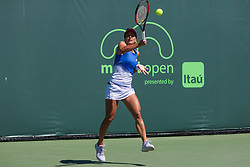 March 22, 2018 - Key Biscayne, FL, U.S. - KEY BISCAYNE, FL - MARCH 22: Barbora Strycova (CZE) in action on Day 4 of the Miami Open on March 22, 2018, at Crandon Park Tennis Center in Key Biscayne, FL. (Photo by Aaron Gilbert/Icon Sportswire) (Credit Image: © Aaron Gilbert/Icon SMI via ZUMA Press)