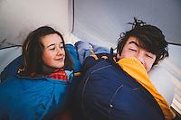 """Good Morning!"" Sister, brother, Josie and Fynn White wake up slow at the Supai Campground, HAvasu Canyon, AZ."