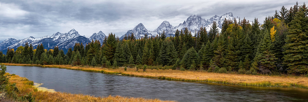 Panoramic view near Schwacher Landing in Grand Teton National Park.