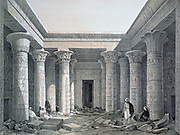 Court of the Great Temple - Philae', 1843.  Lithograph after Owen Jones and Jules Goury.  Temple of Isis principal goddess of ancient Egypt, sister and wife of Osiris.  Archaeology Architecture Religion Mythology Ancient Egyptian