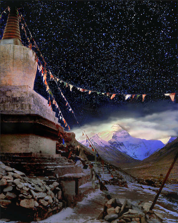 Like an abandoned satellite, the chorten outside Rongbuk Monastery's gate seems to drift in Everest's orbit. The moon is especially vulnerable,  governed by the immovable mountain. By morning that lovely, silent plume - a raging hurricane up in the summit zone - will tack 180-degrees, from dead west to dead east.  Light will slowly climb down the immense pyramid.  .   befits Buddha's teachings about impermanence, <br />