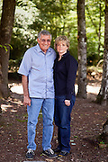Top selling author Karin Slaughter does all her writing in a cabin in Epworth, Georgia. Her father Howard built the 2,400 square foot cabin for her. The two stand in the backyard of the cabin June 13, 2010..CREDIT: Kendrick Brinson/LUCEO.KarinSlaughter