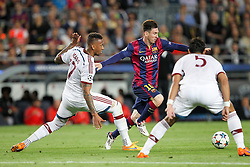 06.05.2015, Camp Nou, Barcelona, ESP, UEFA CL, FC Barcelona vs FC Bayern Muenchen, Halbfinale, Hinspiel, im Bild l-r: im Zweikampf, Aktion, mit Jerome Boateng #17 (FC Bayern Muenchen) und Lionel Messi #10 (FC Barcelona), Mehdi Benatia #5 (FC Bayern Muenchen) // during the UEFA Champions League semi finals 1st Leg match between FC Barcelona and FC Bayern Munich at the Camp Nou in Barcelona, Spain on 2015/05/06. EXPA Pictures © 2015, PhotoCredit: EXPA/ Eibner-Pressefoto/ Kolbert<br /> <br /> *****ATTENTION - OUT of GER*****