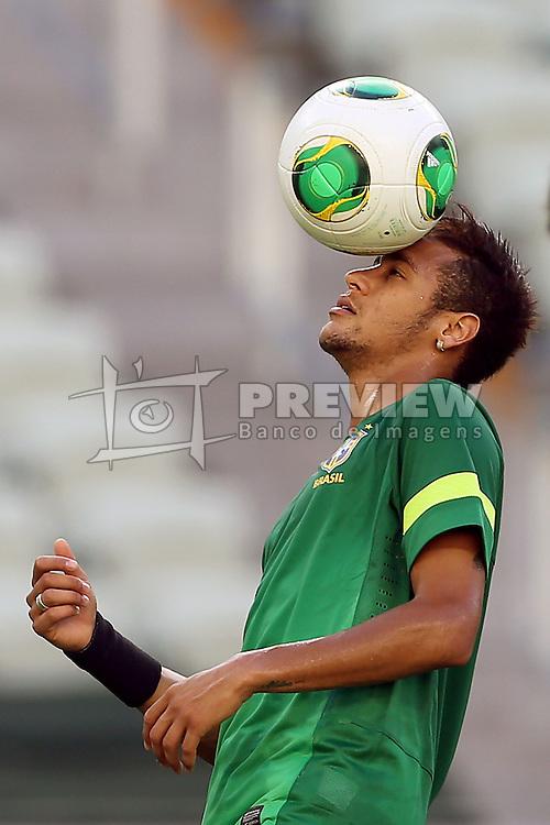"""Neymar Jr. durante o treino da SeleÁ""""o Brasileira na tarde desta terÁa-feira, 18, no est·dio Arena Castel""""o, em Fortaleza-CE. Amanh"""", o Brasil  enfrenta o MÈxico em partida v·lida pela segunda rodada da Copa das ConfederaÁıes. FOTO: Jefferson Bernardes/Preview.com1"""