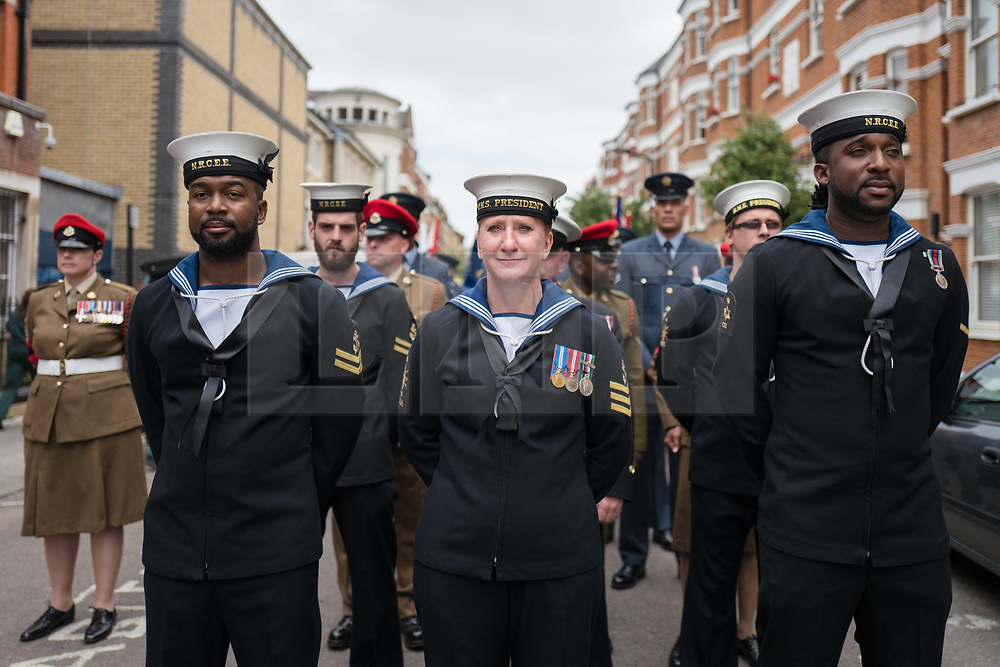 © Licensed to London News Pictures. 22/06/2017. London, UK. Members of the Royal Navy attend the inauguration of the African Caribbean War Memorial in Windrush Square in Brixton, south London, on Windrush Day. The memorial remembers the many African and Caribbean servicemen that fought in the Second World War. Photo credit: Rob Pinney/LNP
