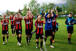 Peter Petran, Saso Ogric, Luka Skrbina, Jaka Ihbeisheh, Dejan Milic of Primorje celebrate after the football match between NK Primorje Ajdovscina and NK Triglav Gorenjska of Second Slovenian football league, on May 16, 2010 in Vipava, Slovenia. Primorje placed first in 2.SNL and qualified for  PrvaLiga in season 2010/2011. (Photo by Urban Urbanc / Sportida)