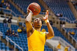 Jan 12, 2016; Morgantown, WV, USA; West Virginia Mountaineers guard Jevon Carter (2) warms up prior to their game against the Kansas Jayhawks at the WVU Coliseum. Mandatory Credit: Ben Queen-USA TODAY Sports