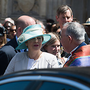 Theresa May leaving the Windrush 70th Anniversary at Westminster Abbey, London, UK