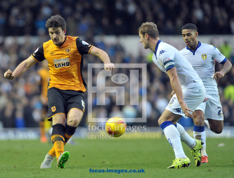 Harry Maguire of Hull City shoots during the Sky Bet Championship match at Elland Road, Leeds<br /> Picture by Graham Crowther/Focus Images Ltd +44 7763 140036<br /> 05/12/2015