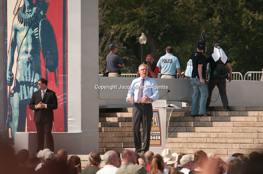 Glen Beck, Washington DC, Rally, Politics, Religion, Celebrity, TV Show Host, Glen Beck on steps of Lincoln Memorial, Restoring Honor Rally, Rally, Rallies, Capital, National Mall, United States, Fox News Host