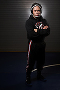 Senior Jaryle Zamora poses for a portrait during wrestling practice at Milpitas High School in Milpitas, California, on December 11, 2015. (Stan Olszewski/SOSKIphoto)