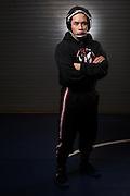 Senior Jaryle Zamora poses for a portrait during wrestling practice at Milpitas High School in Milpitas, California, on December 11, 2015. (Stan Olszewski/SOSKIphoto)