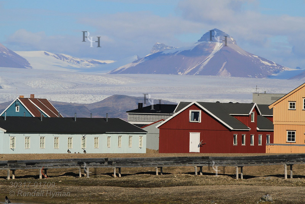 Distant glaciers loom at far end of Kongsfjorden behind the international science village of Ny-Alesund in July; Spitsbergen, Svalbard, Norway.