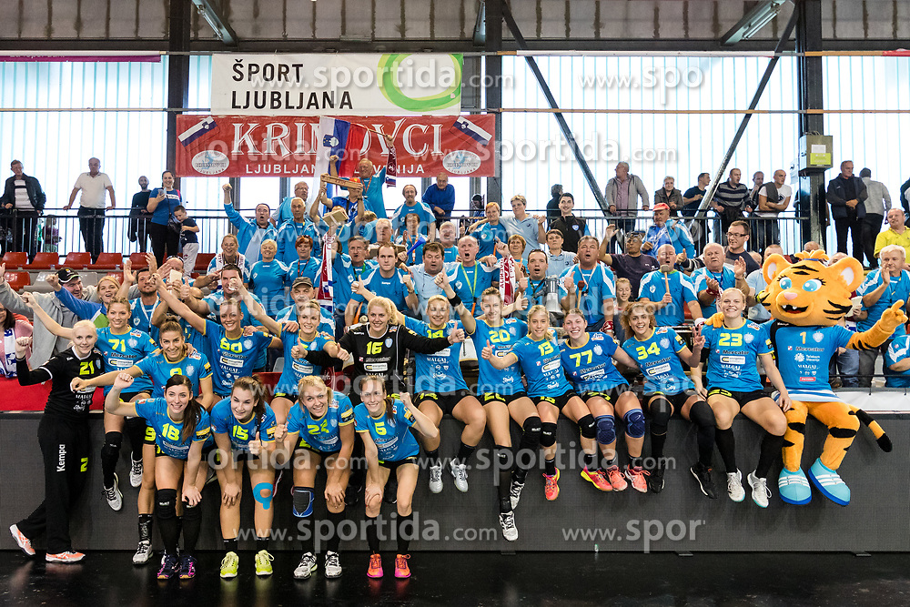 Players of RK Krim celebrate after handball match between RK Krim Mercator and NFH - Nykobing Falster in Group Matches of Women's EHF Champions League 2017/18, on October 14, 2017 in Arena Kodeljevo, Ljubljana, Slovenia.