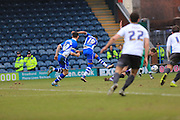 Nathaniel Mendez-Laing scores 2-0 during the Sky Bet League 1 match between Rochdale and Bury at Spotland, Rochdale, England on 12 March 2016. Photo by Daniel Youngs.
