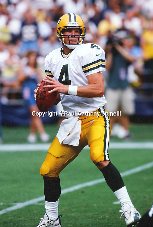 Green Bay Packers quarterback Brett Favre (4) looks to pass during the NFL football game against the San Diego Chargers on Oct. 24, 1999 in San Diego. The Packers won the game 31-3. (©Paul Anthony Spinelli)
