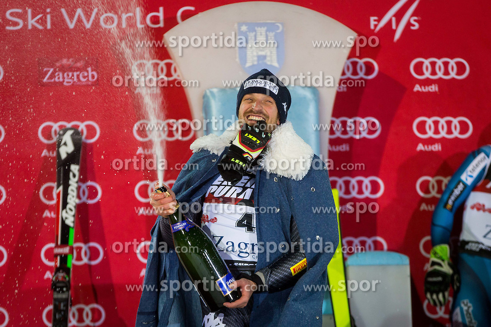"""Manfred Moelgg (ITA) during flower ceremony after the FIS Alpine Ski World Cup 2016/17 Men's Slalom race named """"Snow Queen Trophy 2017"""", on January 5, 2017 in Course Crveni Spust at Sljeme hill, Zagreb, Croatia. Photo by Ziga Zupan / Sportida"""