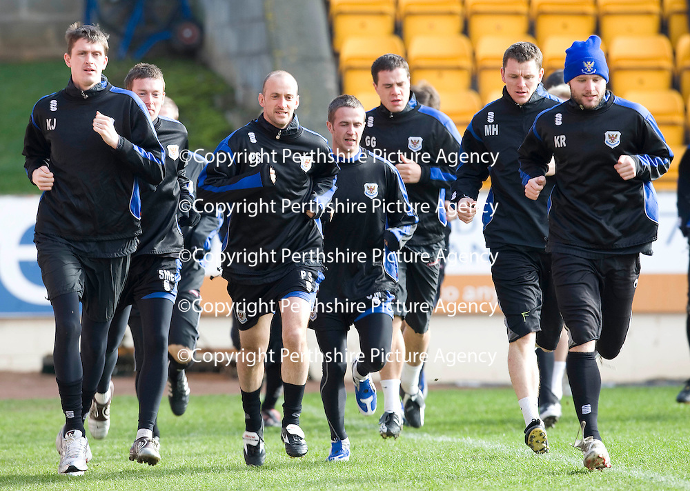 St Johnstone Training...06.03.09<br /> Paul Sheerin and Kevin Rutkiewicz lead a warm up run in training this morning <br /> see story by Gordon Bannerman....Tel: 07729 865788<br /> Picture by Graeme Hart.<br /> Copyright Perthshire Picture Agency<br /> Tel: 01738 623350  Mobile: 07990 594431