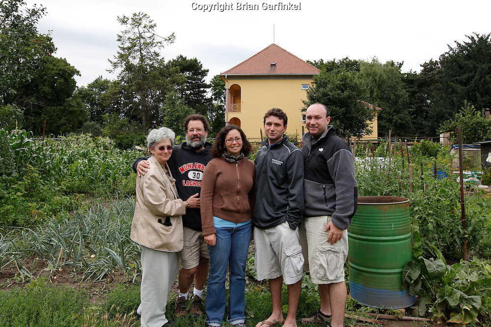 Mom, Dad, Kate, Joel and Brian in front of the house in Sered where Shamu (Spelling is not correct) lived near the sugar plant in Sered, Slovakia on Friday July 1st 2011. (Photo by Brian Garfinkel)