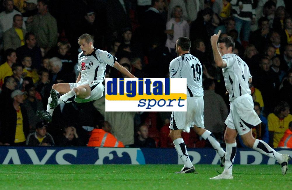 Photo: Richard Lane.<br />Watford v Fulham. The Barclays Premiership. 02/10/2006. <br />Fulham's Heider Helguson celebrates his team's third goal.