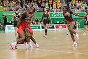 8th April 2018, Gold Coast, Gold Coast Convention and Exhibition Centre, Australia; Commonwealth Games day 4; Netball Malawi versus New Zealand;  Malawi players celebrate after defeating New Zealand 57-53
