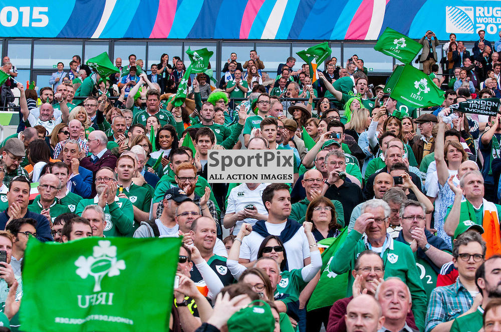 Ireland fans. Action from the Ireland v Italy pool game at the 2015 Rugby World Cup at Queen Elizabeth Stadium in London, 4 October 2015. (c) Paul J Roberts / Sportpix.org.uk