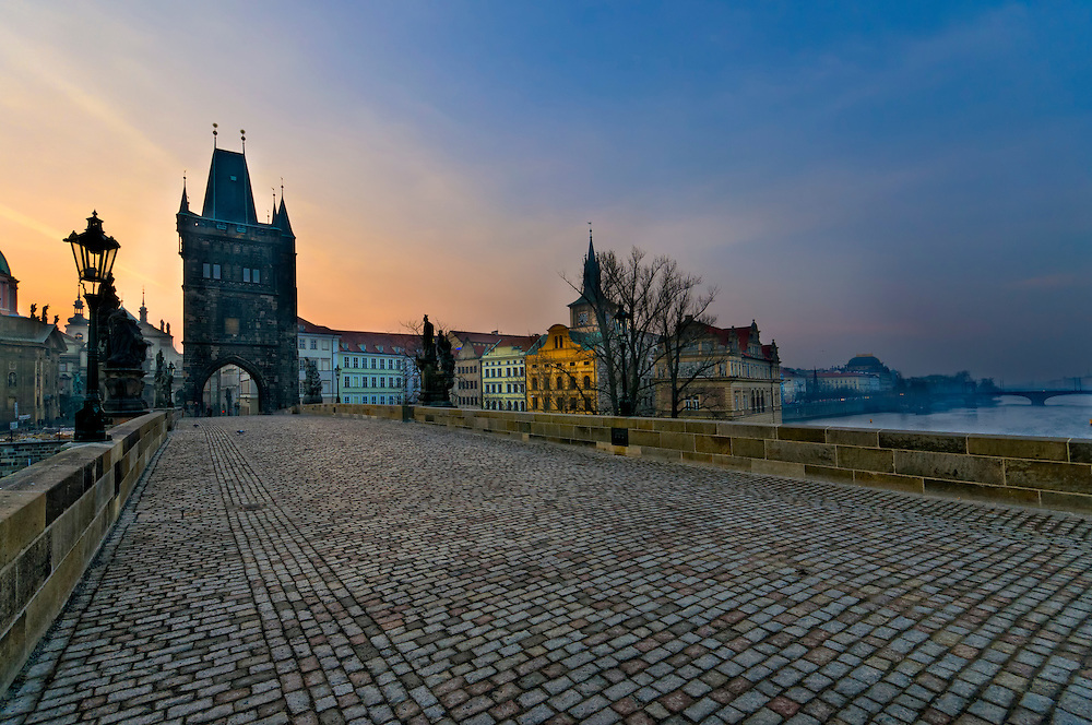 View of the Old Town Bridge Tower of Charles Bridge in Prague (Karlúv Most) the Czech Republic. This bridge is the oldest in the city and a very popular tourist attraction.
