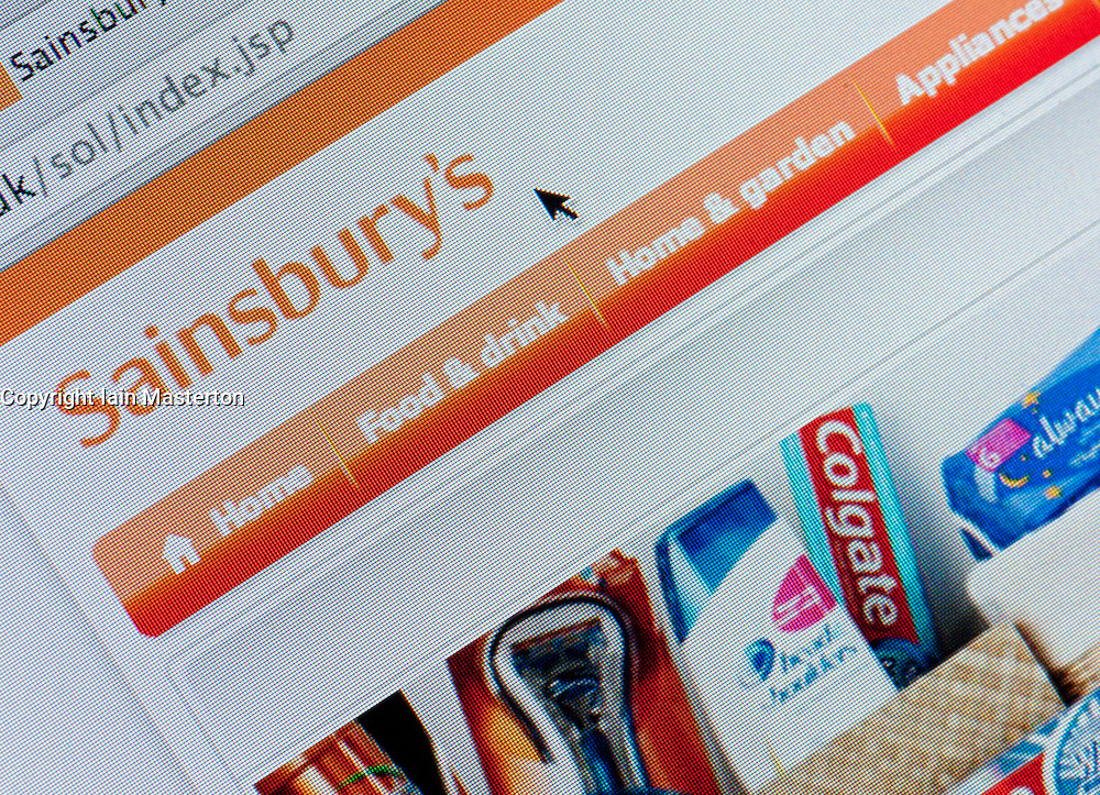 Detail of screen shot from website of Sainsbury's home shopping and delivery service