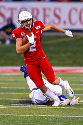NORMAL, IL - September 07: Austin Nagel steps away from a tackle attempt by an Eagles defender during a college football game between the ISU (Illinois State University) Redbirds and the Morehead State Eagles on September 07 2019 at Hancock Stadium in Normal, IL. (Photo by Alan Look)