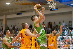 Gasper Vidmar of Slovenia during friendly match between National teams of Slovenia and Republic of Macedonia for Eurobasket 2013 on July 28, 2013 in Litija, Slovenia. (Photo by Vid Ponikvar / Sportida.com)