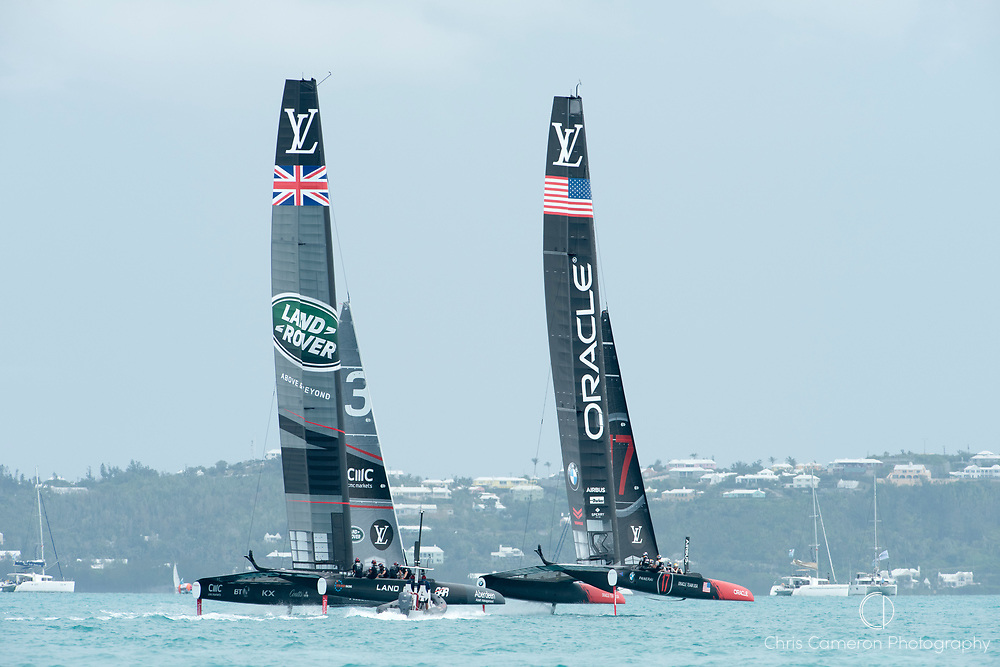 The Great Sound, Bermuda. 3rd June 2017. Oracle Team USA race Land Rover BAR (GBR) in their last race until the America's Cup final. Oracle won the race and the Qualifier series and so take one point forward to the America's Cup.
