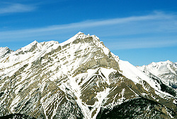 Canada: Winter in the Rockies.  View of Sulphur Mtn near Banff.  Photo #: canwin101..Photo copyright Lee Foster, 510/549-2202, lee@fostertravel.com, www.fostertravel.com