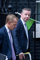 © Licensed to London News Pictures. 05/09/2012. LONDON, UK. The Education Secretary, Michael Gove (R) and David Laws, a minister in the department of education, are seen leaving Number 10 Downing Street in London today (05/09/12) after attending the first cabinet meeting after a cabinet reshuffle that took place yesterday (04/09/12).  Photo credit: Matt Cetti-Roberts/LNP
