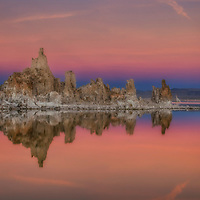 Moonrise over the tufas at Mono Lake, California.