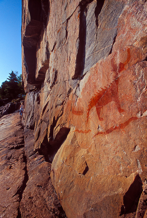 An ancient Ojibwa pictograph depicting Misshepexhieu, the horned lynx demigod of Lake Superior is seen at Agawa Rock in Lake Superior Provincial Park near Wawa, Ontario.