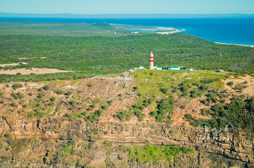 Aerial view of the Cape Moreton lighthouse, Moreton Island, Queensland, Australia