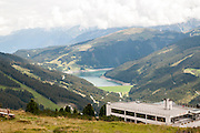 Zillertal Arena visitors centre on Isskogel mountain peak near Gerlos, Tyrol, Austria