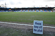 The pitch at Gigg Lane is ready for the visitors and supporters to arrive before the The FA Cup fourth round match between Bury and Hull City at Gigg Lane, Bury, England on 30 January 2016. Photo by Mark Pollitt.