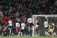 Angelo Ogbonna of West Ham United (2l) scores his team's third goal. EFL Carabao Cup, 4th round match, Tottenham Hotspur v West Ham United at Wembley Stadium in London on Wdnesday 25th October 2017.<br /> pic by Steffan Bowen, Andrew Orchard sports photography.