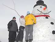 "Buddy Gray (left), Leslie Green (center) and Kyle Green work to secure ""Frosty's"" red scarf."