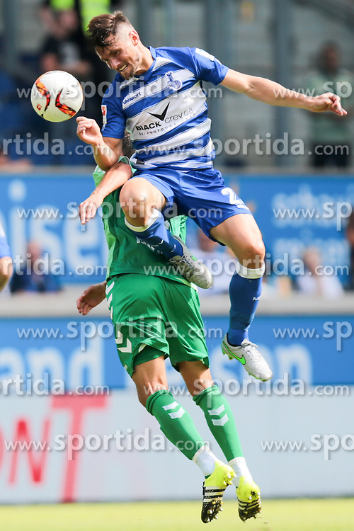29.08.2015, Schauinsland Reisen Arena, Duisburg, GER, 2. FBL, MSV Duisburg vs SpVgg Greuther Fuerth, 5. Runde, im Bild v.l. Andreas Hofmann (#6, SpVgg. Greuther Fuerth) mit James Holland (#23, MSV Duisburg) // during the 2nd German Bundesliga 5th round match between MSV Duisburg and SpVgg Greuther Fuerth at the Schauinsland Reisen Arena in Duisburg, Germany on 2015/08/29. EXPA Pictures &copy; 2015, PhotoCredit: EXPA/ Eibner-Pressefoto/ Deutzmann<br /> <br /> *****ATTENTION - OUT of GER*****